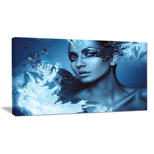 Designart Woman With Snow Splash Portrait CanvasArt Print