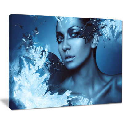 Designart Woman With Snow Splash Portrait Canvas Art Print
