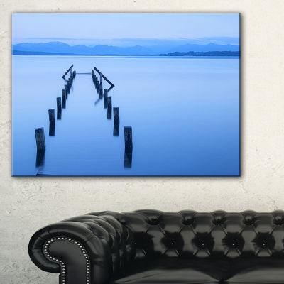 Designart Wood Walk Seascape Photography Canvas Art Print - 3 Panels