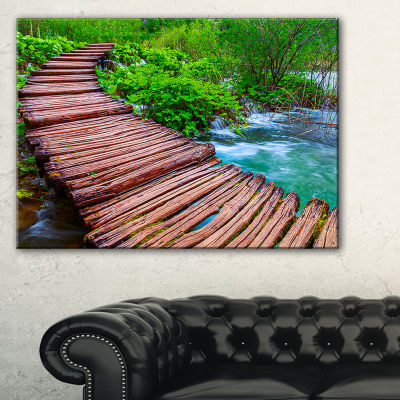 Designart Wooden Bridge In National Park LandscapePhotography Canvas Print - 3 Panels