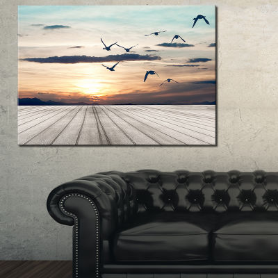 Designart Wooden Floor Sunset Seashore Canvas ArtPrint - 3 Panels