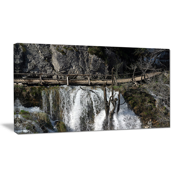 Designart Wooden Pathway In Plitvice Lakes Landscape Photography Canvas Print