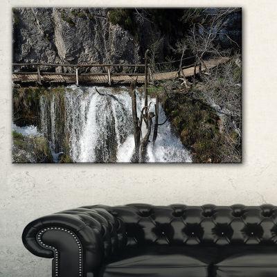 Designart Wooden Pathway In Plitvice Lakes Landscape Photography Canvas Print - 3 Panels