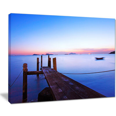 Designart Wooden Pier At Dusk Seascape PhotographyCanvas Art Print