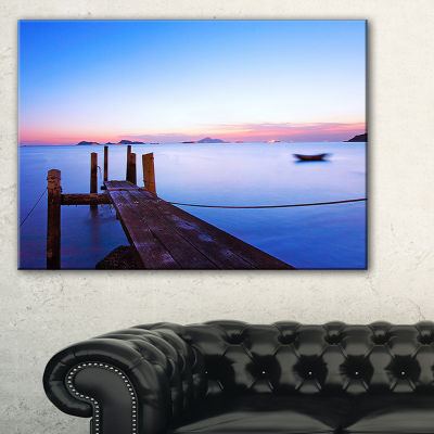 Designart Wooden Pier At Dusk Seascape PhotographyCanvas Art Print - 3 Panels