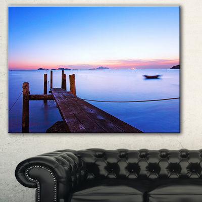 Designart Wooden Pier At Sunset Seascape Photography Canvas Art Print - 3 Panels