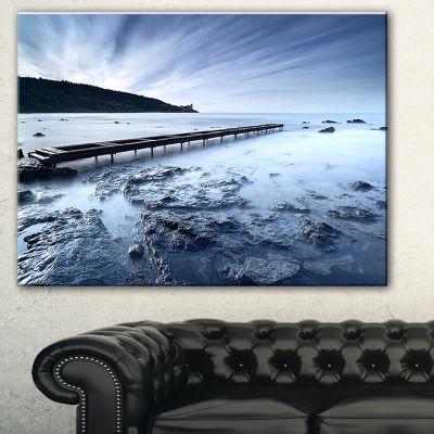Designart Wooden Pier Deep Into Sea Seascape Canvas Art Print - 3 Panels