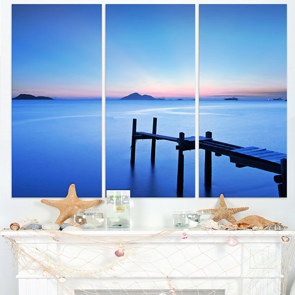 Designart Wooden Pier In Blue Sea Seascape CanvasArt Print - 3 Panels
