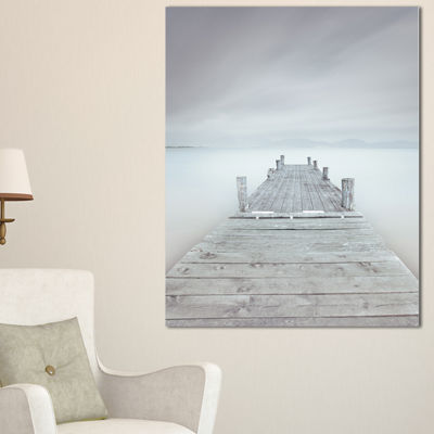 Designart Wooden Pier In Cloudy Mood Seascape Canvas Art Print - 3 Panels