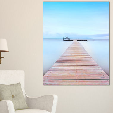Designart Wooden Pier In Cold Atmosphere SeascapeCanvas Art Print