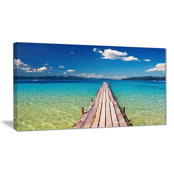 Designart Wooden Pier In Tropical Paradise Seascape Canvas Art Print