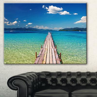 Designart Wooden Pier In Tropical Paradise Seascape Canvas Art Print - 3 Panels