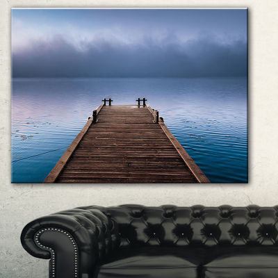 Designart Wooden Pier Under Foggy Sky Seascape Canvas Art Print