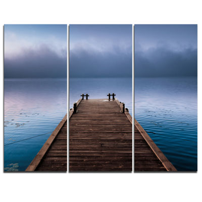 Designart Wooden Pier Under Foggy Sky Seascape Canvas Art Print - 3 Panels