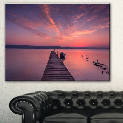 Designart Wooden Pier Under Red Sky Seascape Canvas Art Print - 3 Panels