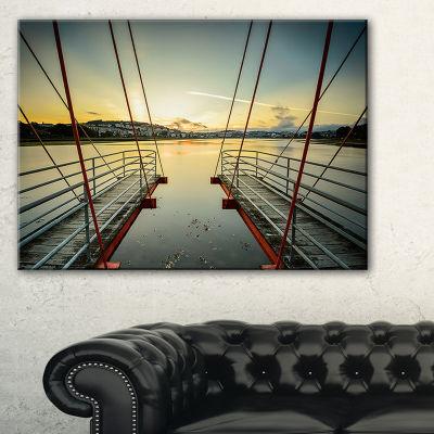 Designart Wooden Piers For Boats In Spain SeashorePhoto Canvas Print - 3 Panels