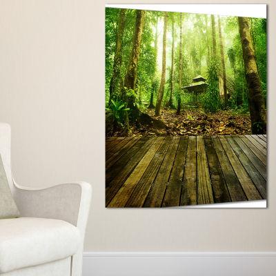 Designart Wooden Platform In Green Forest Landscape Photography Canvas Print - 3 Panels