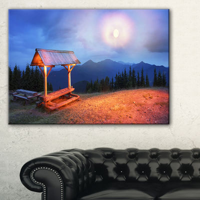 Designart Wooden Table And Benches Landscape Photography Canvas Print - 3 Panels