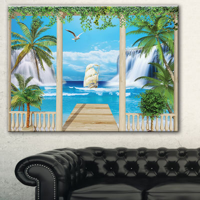 Designart Wooden Terrace With Sea View LandscapePhotography Canvas Print - 3 Panels
