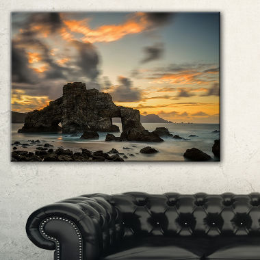 Designart Yellow Atlantic Coast In Spain SeashorePhoto Canvas Print