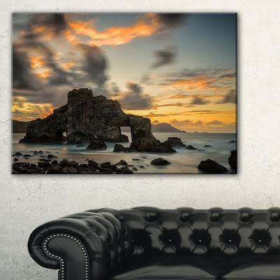 Designart Yellow Atlantic Coast In Spain SeashorePhoto Canvas Print - 3 Panels