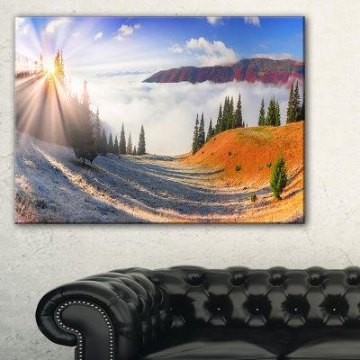Designart Yellow Beach Forest In Carpathians Landscape Photography Canvas Print - 3 Panels