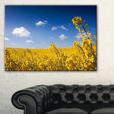 Designart Yellow Canola Field Landscape Photography Canvas Art Print - 3 Panels