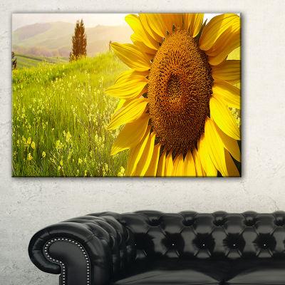 Designart Yellow Field With Big Sunflower Landscape Canvas Art Print - 3 Panels
