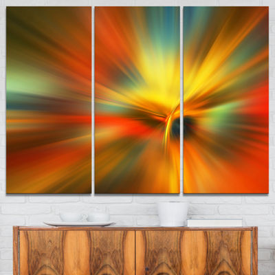 Designart Yellow Focus Color Abstract Canvas ArtPrint - 3 Panels