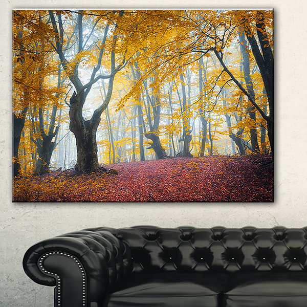 Designart Yellow Forest Autumn Trail Landscape Photography Canvas Print - 3 Panels