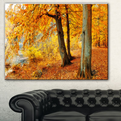 Designart Yellow Forest Of Autumn Landscape Photography Canvas Print - 3 Panels