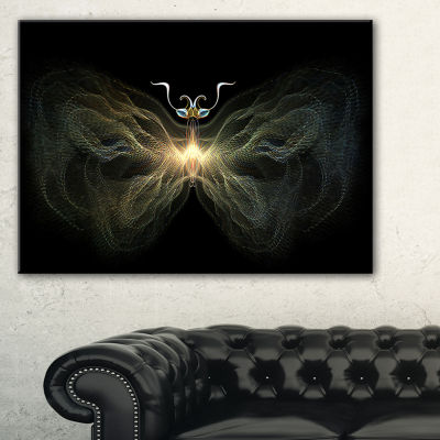 Designart Yellow Fractal Butterfly In Dark Abstract Print On Canvas