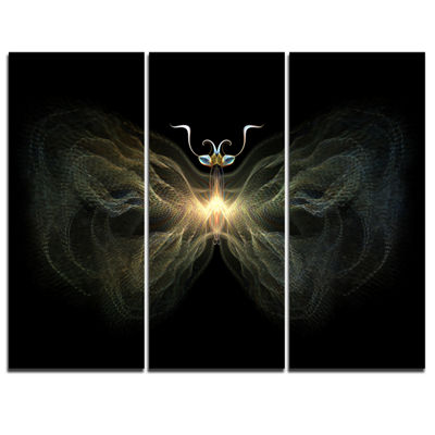 Designart Yellow Fractal Butterfly In Dark Abstract Print On Canvas - 3 Panels