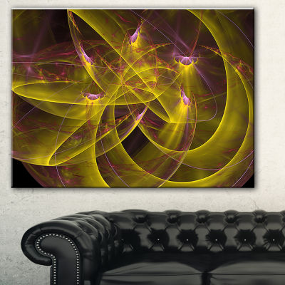Designart Yellow Fractal Flames Abstract Canvas Art Print - 3 Panels