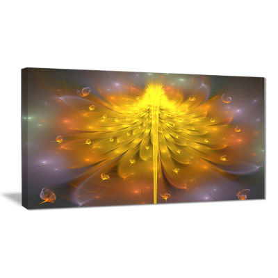 Designart Yellow Fractal Flower With Pink Floral Art Canvas Print