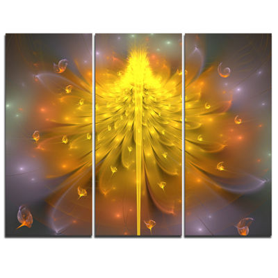 Designart Yellow Fractal Flower With Pink FloralArt Canvas Print - 3 Panels