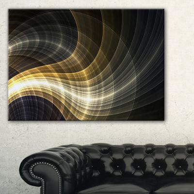 Designart Yellow Fractal Light Art Abstract CanvasArt Print - 3 Panels