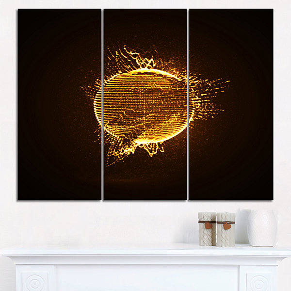 Designart Yellow Glowing Particles Abstract CanvasArt Print - 3 Panels