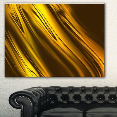 Designart Yellow Liquid Gold Design Abstract Canvas Art Print