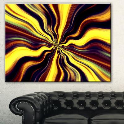Designart Yellow Purple Black Fantasy Abstract Canvas Art Print - 3 Panels