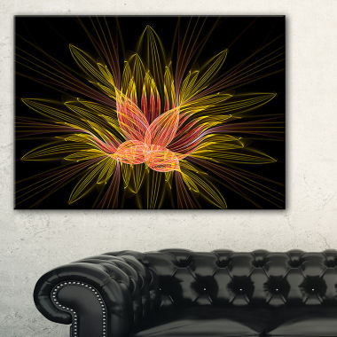 Designart Yellow Red Fractal Flower In Dark FloralCanvas Art Print