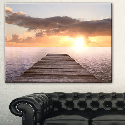 Designart Yellow Sea And Brown Pier Seascape Canvas Art Print - 3 Panels