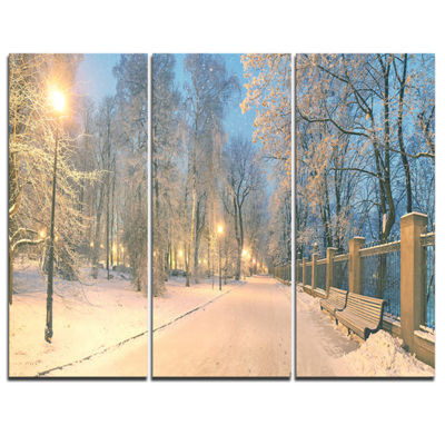Designart Yellow Seats In Mariinsky Garden Landscape Photography Canvas Print - 3 Panels