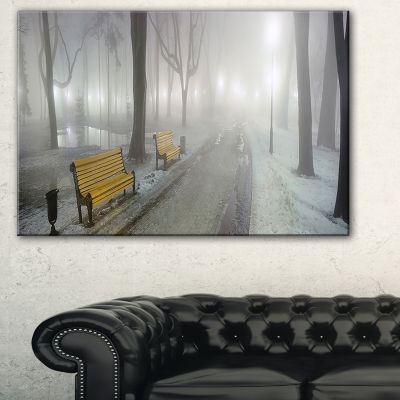 Designart Yellow Seats In Mariinsky Garden Landscape Photography Canvas Print - 3 Panels