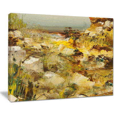 Designart Yellow Stones Heavily Textured LandscapePainting Canvas Print
