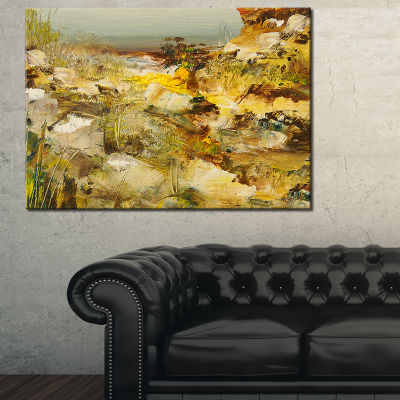 Designart Yellow Stones Heavily Textured LandscapePainting Canvas Print - 3 Panels