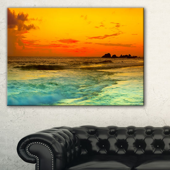 Designart Yellow Sunset Over Sea Seascape Photography Canvas Art Print