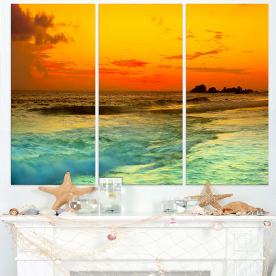 Designart Yellow Sunset Over Sea Seascape Photography Canvas Art Print - 3 Panels