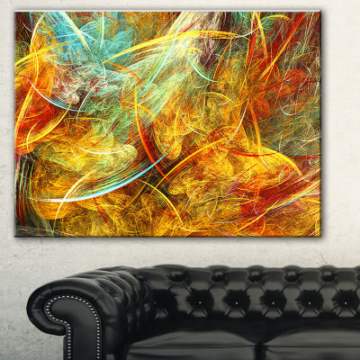 Designart Yellow Swirling Clouds Abstract CanvasArt Print
