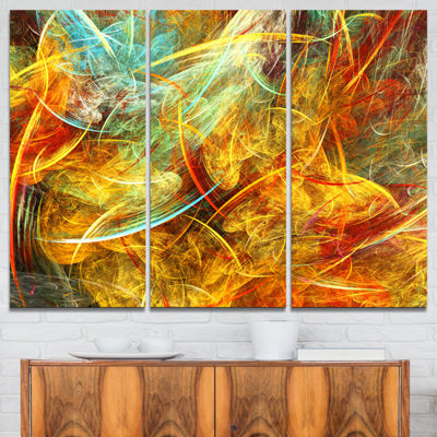 Designart Yellow Swirling Clouds Abstract CanvasArt Print - 3 Panels